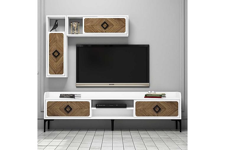 Hovdane TV-Benk 180 cm - Hvit/Brun - Møbler - Medie- & TV-møbler - TV-møbelsett