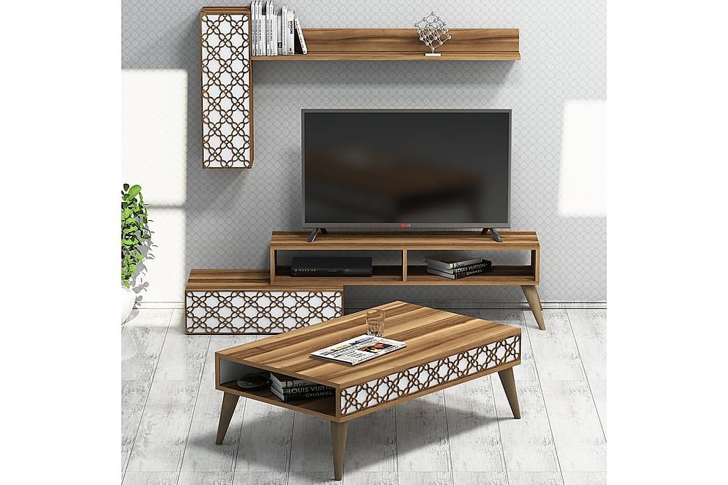 Hovdane TV-Møbelsett 150 cm - Brun/Hvit - Møbler - Medie- & TV-møbler - TV-møbelsett
