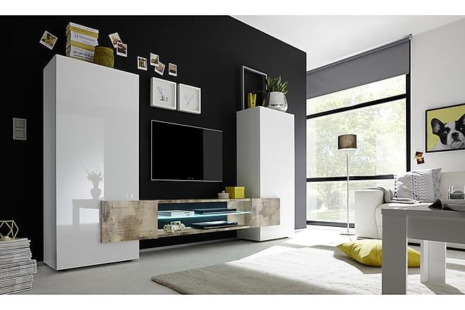 Incastro TV-møbel 258 cm - Hvit/Natur - Møbler - Medie- & TV-møbler - TV-benk & mediabenk