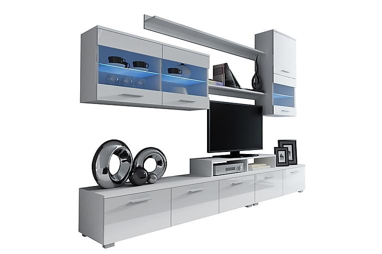 Logo Mediamøbler & LED 250x42x190 cm - Hvit - Møbler - Medie- & TV-møbler - TV-møbelsett