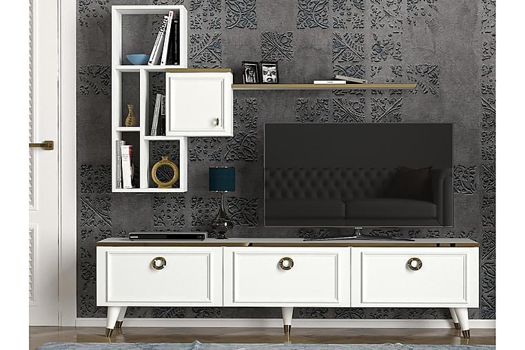 Mohed TV-Benk 180 cm - Hvit/Gul - Møbler - Medie- & TV-møbler - TV-møbelsett