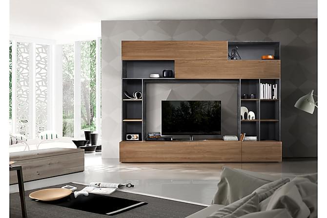 Priscilla Mediamøbel 276 cm - Brun/Grå - Møbler - Medie- & TV-møbler - TV-møbelsett
