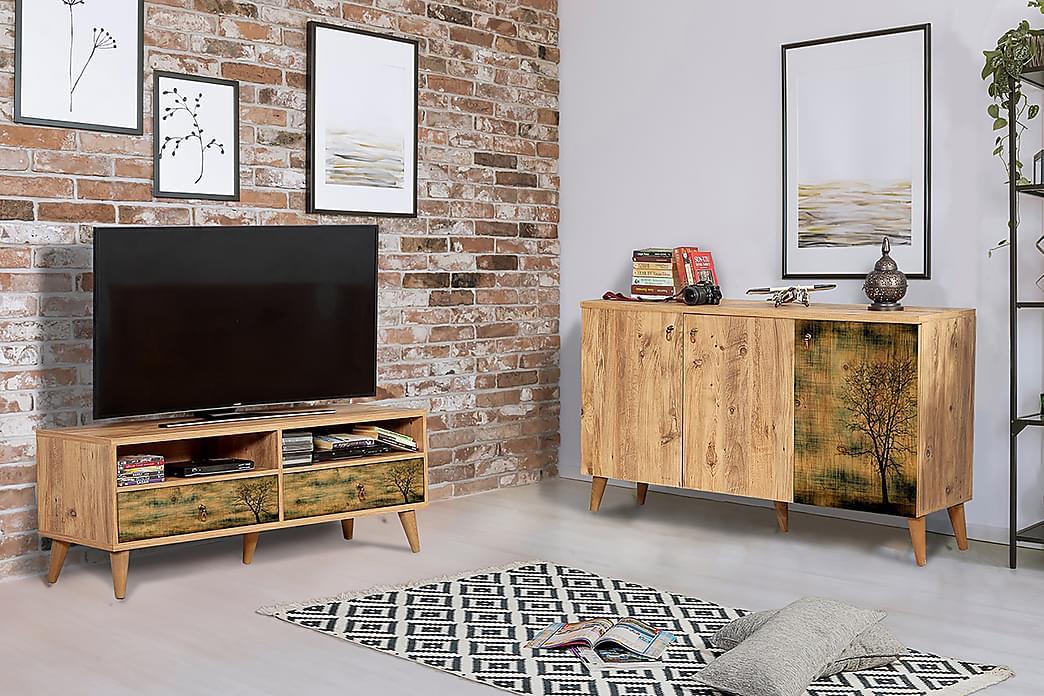 Rakered Stuesett - Brun - Møbler - Medie- & TV-møbler - TV-møbelsett