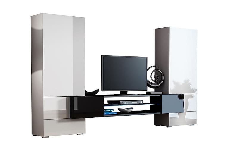 Tori Mediamøbler & LED 278x46x162 cm - Grå / Hvit - Møbler - Medie- & TV-møbler - TV-møbelsett