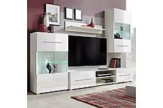 Caronia TV-møbelsett 240 cm med Vitrineskap + LED 5 Deler