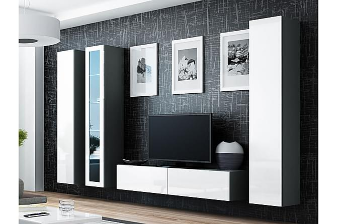 Vigo TV-møbelsett 260x40x180 cm - Svart / Grå / Hvit - Møbler - Medie- & TV-møbler - TV-møbelsett