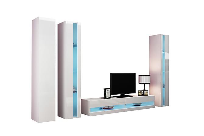 Vigo TV-møbelsett 300x40x180 cm - Hvit - Møbler - Medie- & TV-møbler - TV-møbelsett