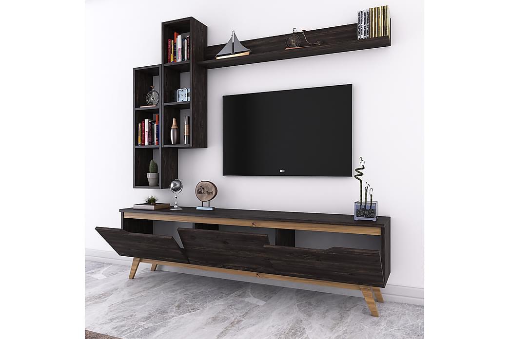 Virkesbo TV-Benk 180 cm - Svart/Brun - Møbler - Medie- & TV-møbler - TV-møbelsett