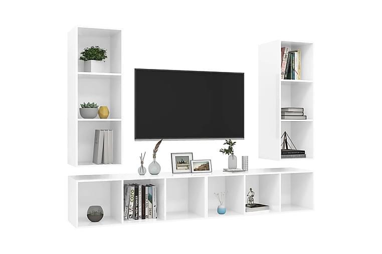 Vegghengte TV-benker 4 stk höyglans hvit sponplate - Hvit - Møbler - Medie- & TV-møbler - TV-skap