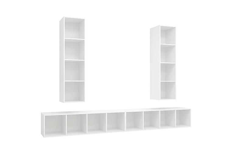 Vegghengte TV-benker 4 stk hvit sponplate - Hvit - Møbler - Medie- & TV-møbler - TV-skap