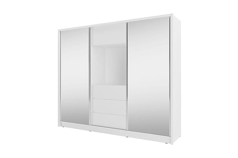Biurrun Garderobe med Speil - Hvit - Møbler - Oppbevaring - Garderober & garderobesystem