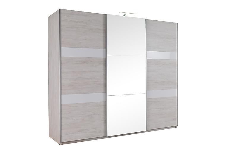 Denver Garderobe 250x68,5x215 cm - Beige / Grå /  Hvit - Møbler - Oppbevaring - Garderober & garderobesystem