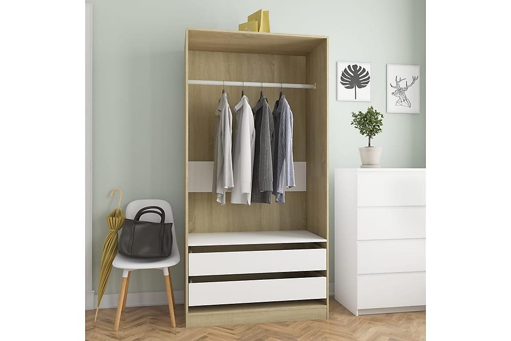 Garderobe hvit og sonoma eik 100x50x200 cm sponplate - Brun - Møbler - Oppbevaring - Garderober & garderobesystem