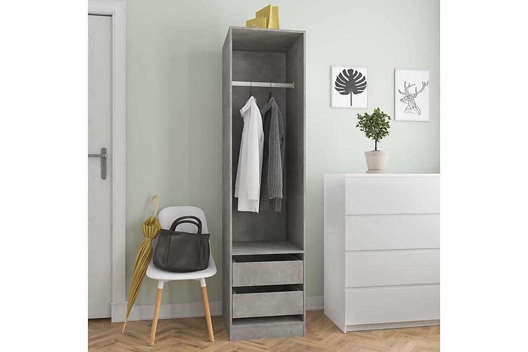Garderobe med skuffer betonggrå 50x50x200 cm sponplate - Grå - Møbler - Oppbevaring - Garderober & garderobesystem