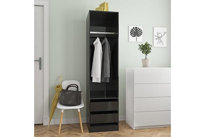 Garderobe med skuffer høyglans svart 50x50x200 cm sponplate - Svart - Møbler - Oppbevaring - Garderober & garderobesystem