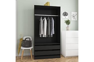 Garderobe svart 100x50x200 cm sponplate