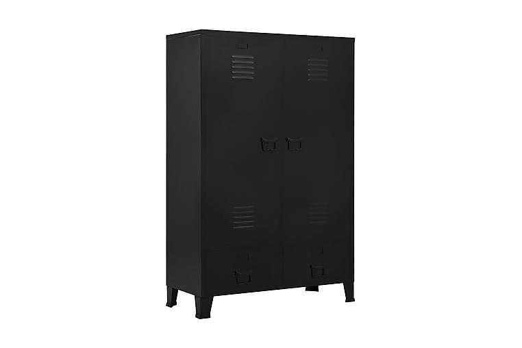 Garderobeskap industrielt svart 90x40x140 cm stål - Møbler - Oppbevaring - Garderober & garderobesystem