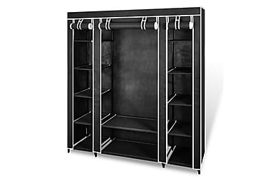 Garderobeskap med hyller og stenger 45x150x176 cm svart stof