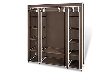 Garderobeskap med rom og stenger 45x150x176 cm Brunt Stoff