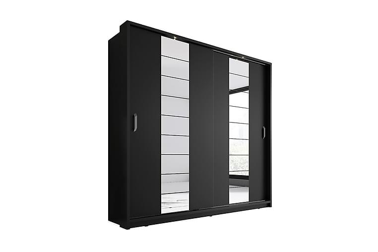 Maxima Garderobe 215 cm LED-belysning 2 Skyvedører - Svart - Møbler - Oppbevaring - Garderober & garderobesystem