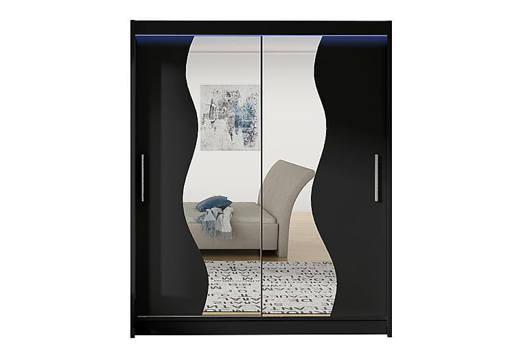 Presto Garderobe 58x150 cm LED-belysning - Svart - Møbler - Oppbevaring - Garderober & garderobesystem