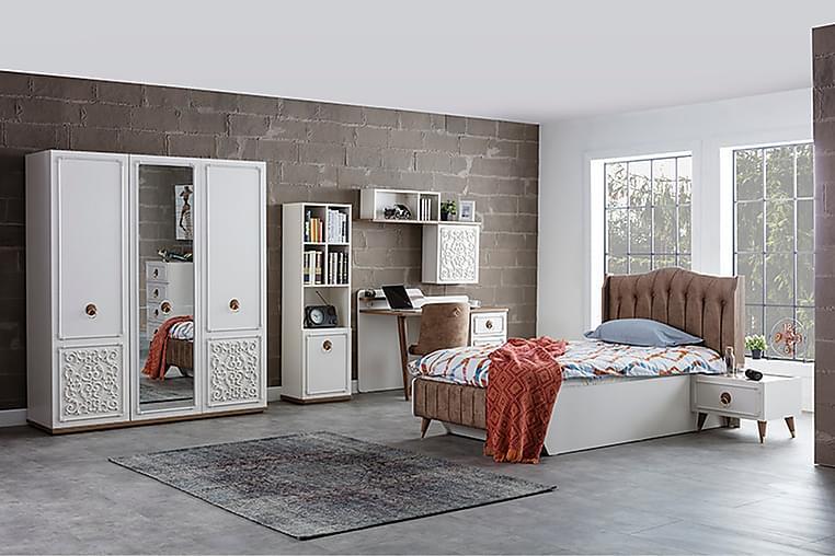 Shawmut Garderobe 172x58 cm med Speil - Hvit/Natur - Møbler - Oppbevaring - Garderober & garderobesystem