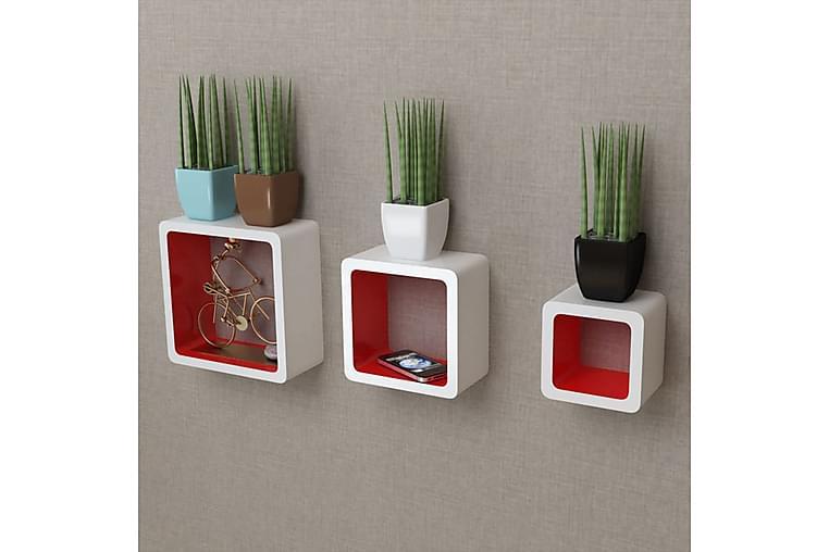 3 Hvite og røde MDF vegghylle kuber - Hvit/Rød - Møbler - Oppbevaring - Hyller