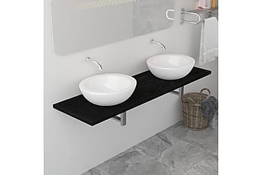 Baderomsvegghylle for vask svart 160x40x16,3 cm