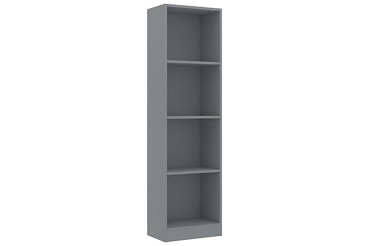 Bokhylle 4 nivåer grå 40x24x142 cm sponplate - Møbler - Oppbevaring - Hyller