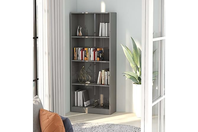 Bokhylle 4 nivåer høyglans grå 60x24x142 cm sponplate - Møbler - Oppbevaring - Hyller
