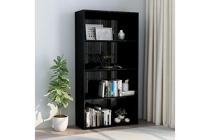 Bokhylle 4 nivåer høyglans svart 80x30x151,5 cm sponplate - Møbler - Oppbevaring - Hyller