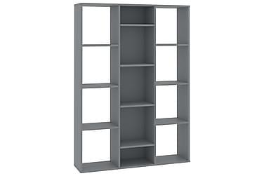 Bokhylle/Romdeler grå 100x24x140 cm sponplate