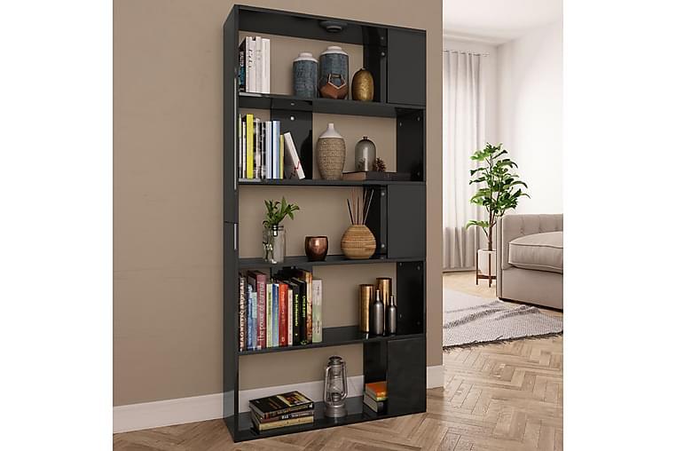 Bokhylle/Romdeler høyglans svart 80x24x159 cm sponplate - Svart - Møbler - Oppbevaring - Hyller
