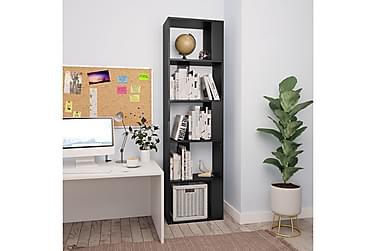 Bokhylle/Romdeler svart 45x24x159 cm sponplate