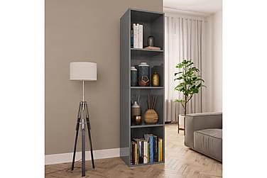Bokhylle/TV-benk høyglans grå 36x30x143 cm sponplate
