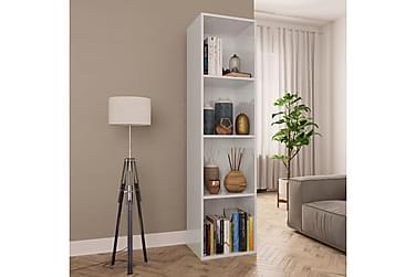 Bokhylle/TV-benk høyglans hvit 36x30x143 cm sponplate