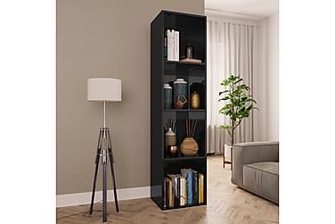 Bokhylle/TV-benk høyglans svart 36x30x143 cm sponplate