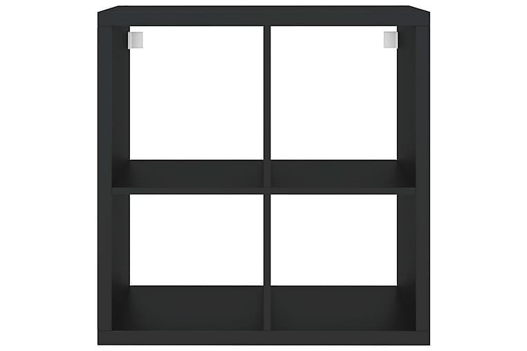 Vegghylle kubeformet svart 69,5x29,5x69,5 cm MDF - Svart - Møbler - Oppbevaring - Hyller