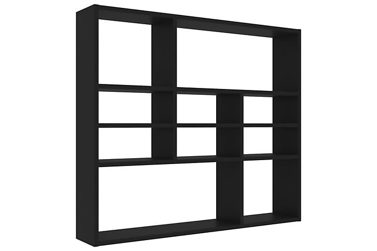 Vegghylle svart 90x16x78 cm sponplate - Møbler - Oppbevaring - Hyller
