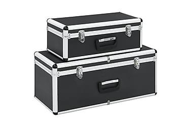 Oppbevaringskasser 2 stk svart aluminium