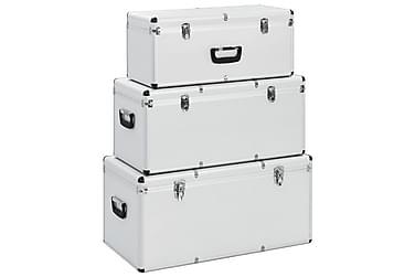 Oppbevaringskasser 3 stk sølv aluminium