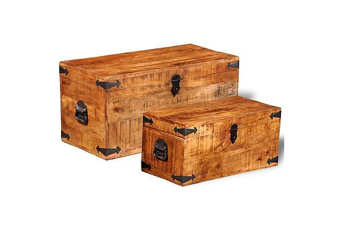 Oppbevaringskiste sett 2 stk grovt mangotre - Møbler - Oppbevaring - Oppbevaringskiste & sengekiste