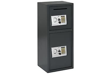 Digital safe med dobbel dør mørkegrå 35x31x80 cm