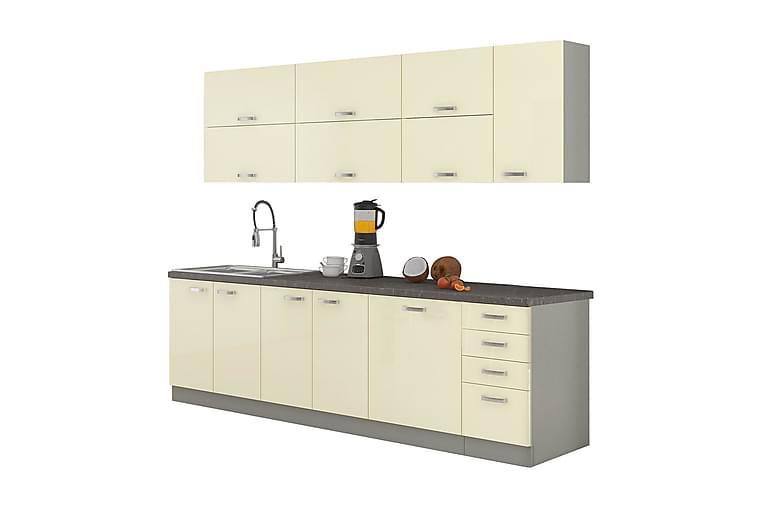Karmen Kjøkkenmøbler Sett - Grå   Beige - Møbler - Oppbevaring - Oppbevaringsskap