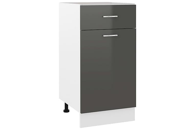 Kjøkkenskap høyglans grå 40x46x81,5 cm sponplate - Grå - Møbler - Oppbevaring - Oppbevaringsskap