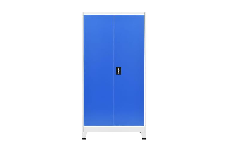 Kontorskap metall 90x40x180 cm grå og blå - Grå/Blå - Møbler - Oppbevaring - Oppbevaringsskap