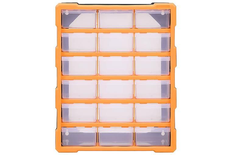 Sortimentskap med 18 skuffer 38x16x47 cm - Oransj - Møbler - Oppbevaring - Oppbevaringsskap