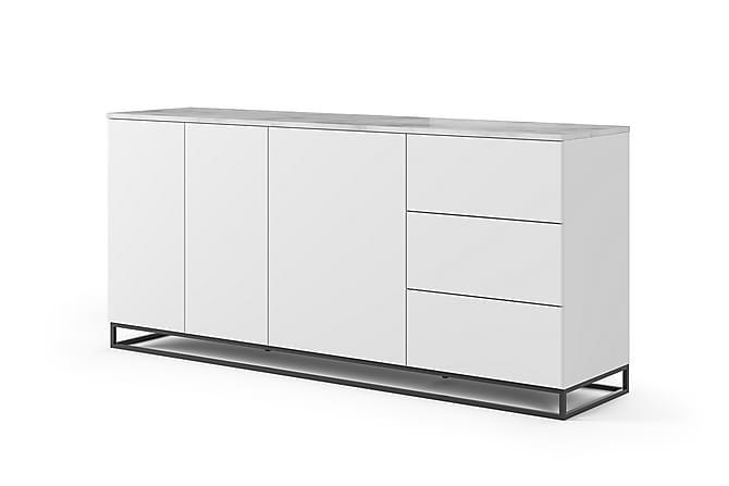 Temahome Kolesar Skjenk 200x91 cm Marmor - Hvit/Svart Benstativ - Møbler - Oppbevaring - Sideboard & skjenk