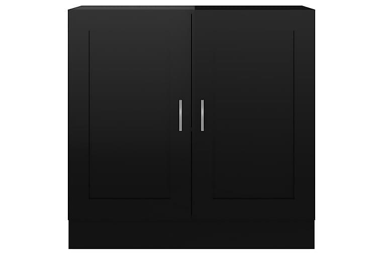 Bokhylle høyglans svart 82,5x30,5x80 cm sponplate - Møbler - Oppbevaring - Vitrineskap
