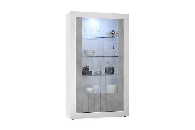 Urbino vitrineskap 110 cm - Hvit/Grå - Møbler - Oppbevaring - Vitrineskap